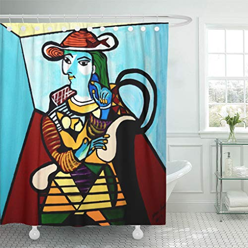 Semtomn Shower Curtain Colorful Abstract Picasso by Waiting Pop Cubist Fun Painting 72