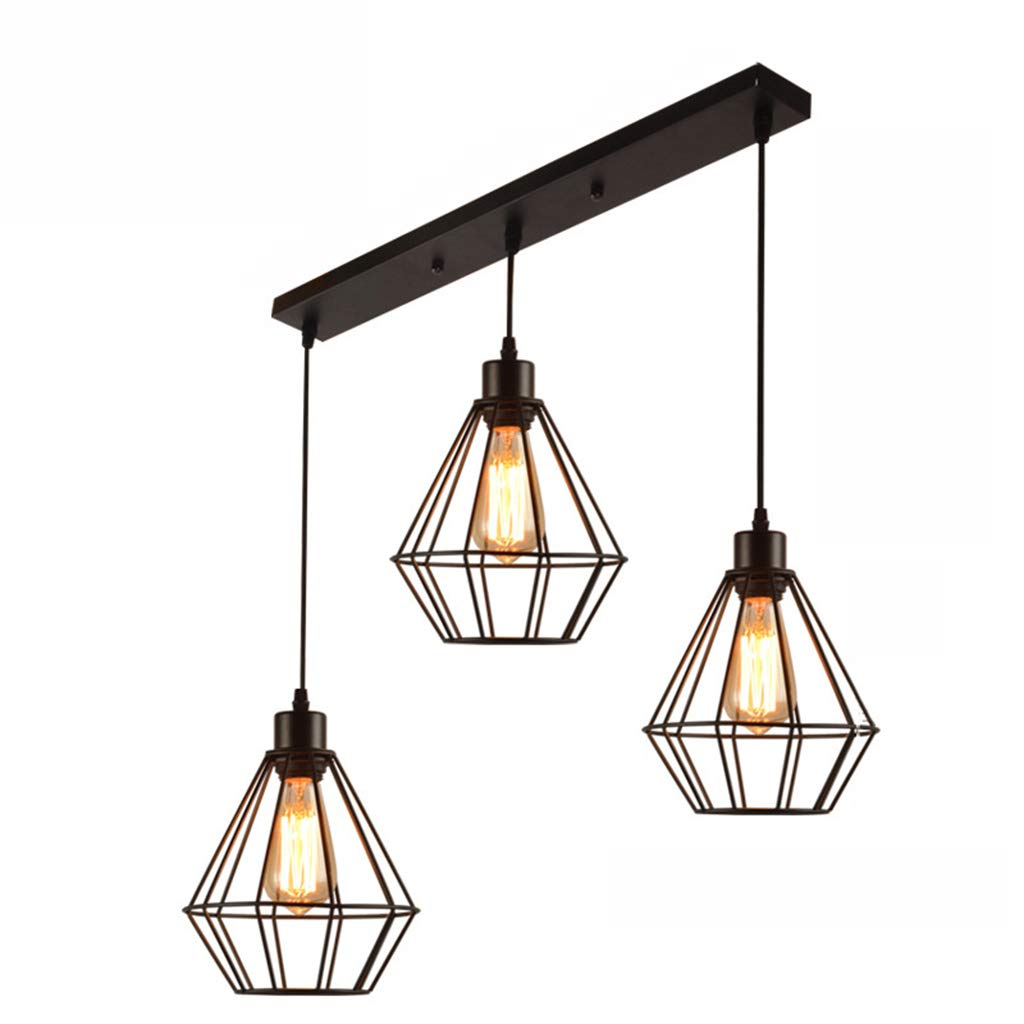 Pendant Lights Retro Restaurant Bar Loft Chandelier Iron Cage Pendant Light Ceiling Light Country Art Industrial Wind Lantern 3 Light Lighting & Ceiling Fans (Color : Straight)