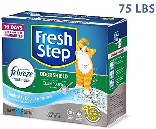 Fresh Step Odor Shield Scented Clumping Cat Litter with The Power of Febreze, 75 Pounds, Packaging May Vary