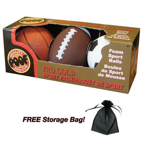 "Pro Gold Mini Foam 4"" Basketball 6"" Football and 4"" Soccer B"