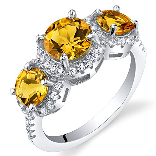 3 Cut Ring Citrine Stone (Citrine Sterling Silver 3 Stone Halo Ring Size 9)