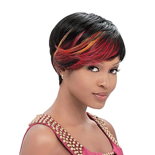 AISI HAIR Short Cut Wigs Synthetic Pixie Wigs for Black Women Two Tone Wigs Bangs Wig That Look Real Heat Resistant Wig (Pixie Cut Dresses)