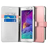 Spigen Wallet S Galaxy Note 4 Case with Kickstand Feature Card Holder Wallet Case for Samsung Galaxy Note 4 2014 - Azalea Pink