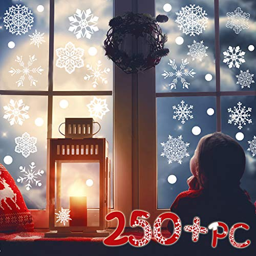 (R ? HORSE 250 PCs 8 Sheets Snowflakes Window Clings PVC Winter Decal Stickers for Christmas Decorations Winter Ornaments Xmas Party Stickers (White Snowflakes / Baubles Included))