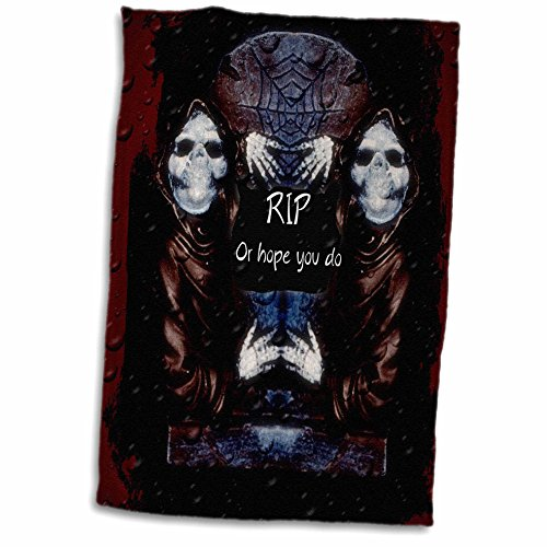 3dRose ET Photography - Halloween Designs - Grim reaper with tombstone and Halloween saying - 12x18 Hand Towel (twl_162110_1)