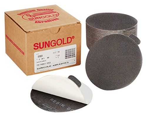 Sungold Abrasives 02023 Glass Sanding PSA Sticky Back Cloth Sanding Discs Silicon Carbide/Cork Assortment 5 each of 220 320 400 600 & Cork (Pack of 25), - Cloth Assortment