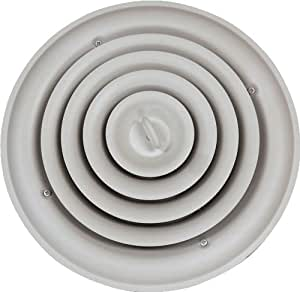 Speedi-Grille SG-RCR 10 10-Inch Round White Ceiling Air Vent Register with Fixed Cone Diffuser and Bowtie Damper