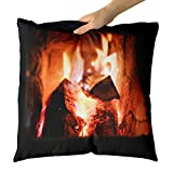 Westlake Art - Warm Fireplace - Decorative Throw Pillow Cushion - Picture Photography Artwork Home Decor Living Room - 18x18 Inch (9BEC-81537)