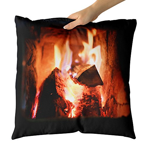 Westlake Art - Warm Fireplace - Decorative Throw Pillow Cushion - Picture Photography Artwork Home Decor Living Room - 18x18 Inch (9BEC-81537) by Westlake Art
