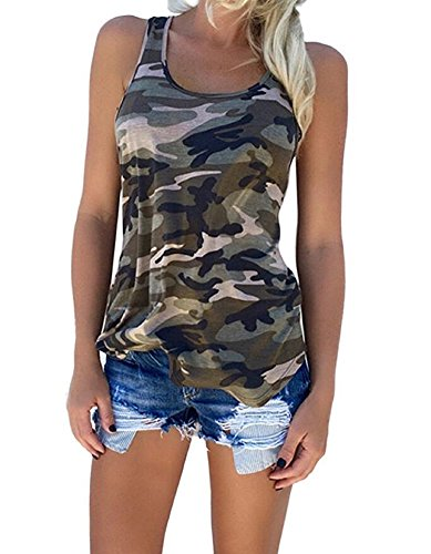 Women's Racerback Casual Stretch Camo Shirts Camouflage Tank Tops (XX-Large)
