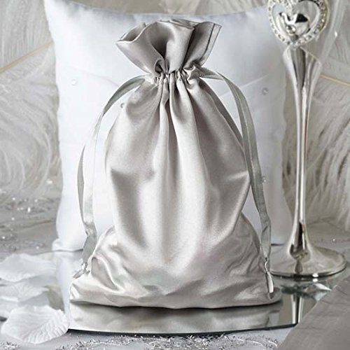 """Efavormart 60PCS Silver Satin Gift Bag Drawstring Pouch Wedding Favors Bridal Shower Candy Jewelry Bags - 6""""x 9"""""""