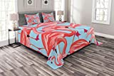 Lunarable Flamingo Bedspread Set King Size, Tropical Birds Pattern Flamingos Colorful Exotic Animal Nature Artwork, Decorative Quilted 3 Piece Coverlet Set with 2 Pillow Shams, Coral and Pale Blue