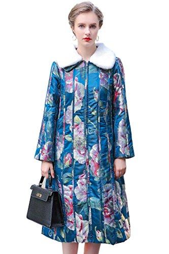VOA Women's Blue Bottom Saffron Fur Removal Collar Zipper Long Sleeve Yarn-Dyed Silk Cotton Coat M7171