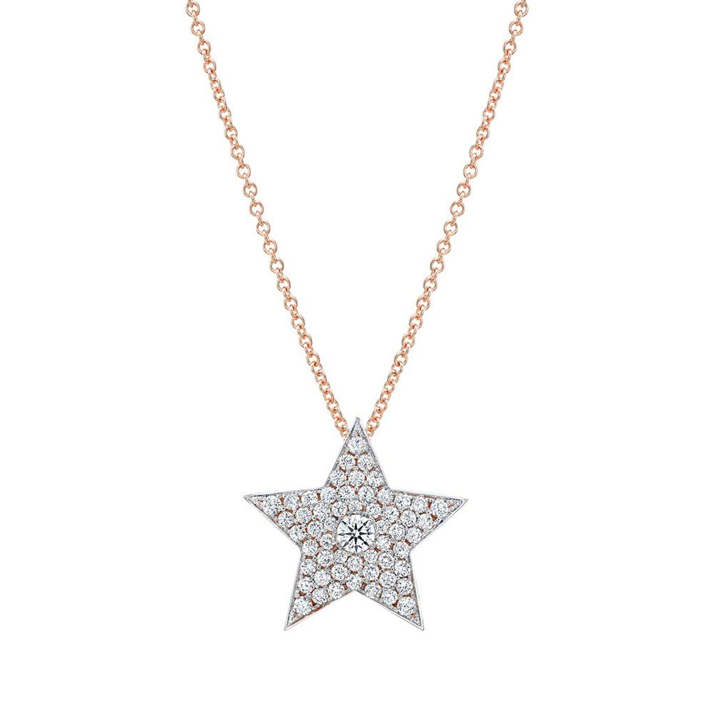 1.00 Ct Round Cut Simulated Diamond Star Shaped Pendant In Solid 14K Real Gold With 18Chain .925 Silver
