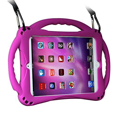 [New Design]TopEs iPad Mini Case Kids Shockproof Handle Stand Cover&(Tempered Glass Screen Protector) for iPad Mini, Mini 2, Mini 3 and iPad Mini Retina Models (Purple)