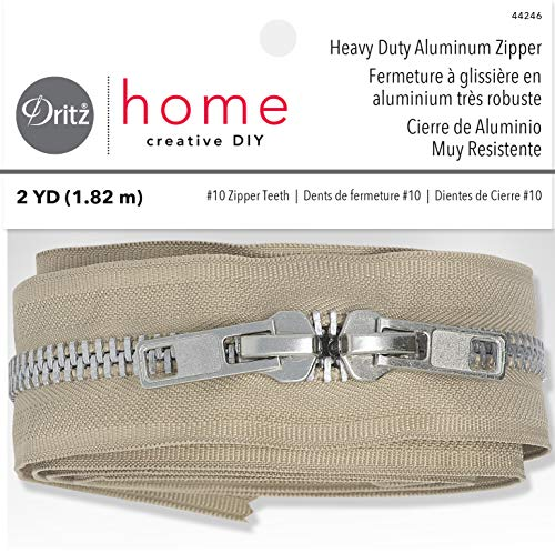 Aluminum Zipper - Dritz Home 44246 Heavy Duty Aluminum Zipper, 72-Inch, Beige