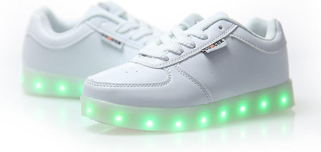 DoGeek Zapatos Led Niños Niñas Negras Blanco 7 Color USB Carga LED ...