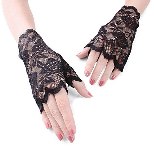 (Gauss Kevin Fingerless Lace Gloves UV Protection Wrist Length Prom Party Driving Wedding Gloves Black 03)