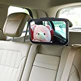 PEKITAS Baby Extra Large Clear View Car Back Seat Mirror - for Rear View, 360 Degree Pivot, Adjustable and shatterproof