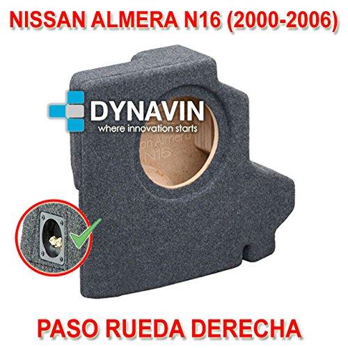 NISSAN ALMERA (2000-2006). RUEDA DERECHA - CAJA ACUSTICA PARA SUBWOOFER ESPECÍ FICA PARA HUECO EN EL MALETERO Dynavin CJ-NISSAN.01