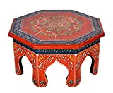 Hand Painted Work Design Wooden Round Bajot Chowki Table Christmas Gift Ideas12 X 12 X 6 Inches