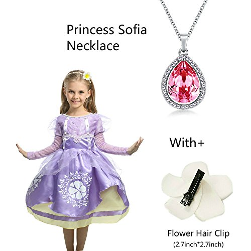 Princess Sofia Ncklace Teardrop Rose Red Pendant Necklace Fashion Jewelry Gift for Girls,Sofia The First Amulet by (Sophia Amulet)