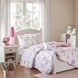 Mi Zone Kids Bonjour Full Comforter Sets for Girls - Pink, French Paris – 8 Pieces Kids Girl Bedding Set – Ultra Soft Microfiber Childrens Bedroom Bed Comforters