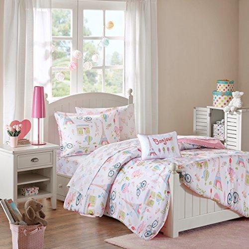 Price comparison product image Mi Zone Kids Bonjour Full Comforter Sets for Girls - Pink, French Paris – 8 Pieces Kids Girl Bedding Set – Ultra Soft Microfiber Childrens Bedroom Bed Comforters