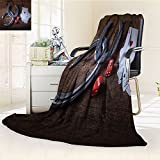 Nalohomeqq Saloon Custom Collection Horseshoes Lucky Card Game Dice Ace of Hearts Number Nine Poker Picture Pattern Microfiber Fabric Blanket Hypoallergenic Printed Fleece Blanket Red Gray