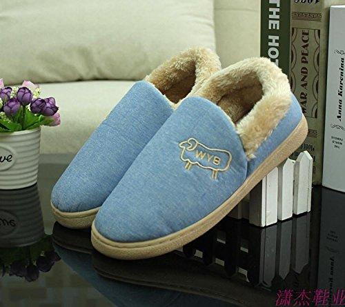 et côte en moutons boeuf 36 chaussures épais 34 pieds chaussons 36 avec chaussures Forfait chaud bleu hiver 250 des coton de coton Cartoon moelleux chaussons 35 qPwZ4XzZ
