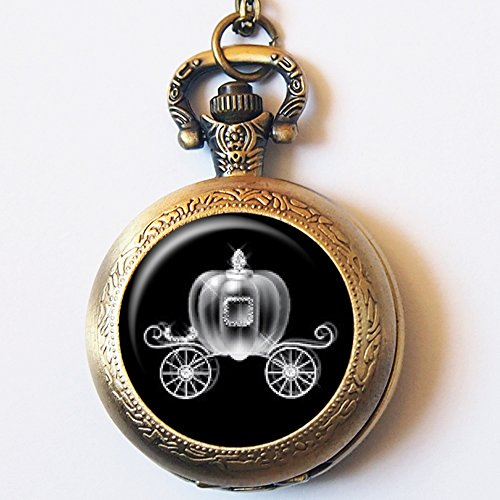 Vintage Pumpkin Carriage Pocket Watch Casestars Hand Craft Grimm Fairy Tales Cinderella Quartz Pocket Watch Neacklace