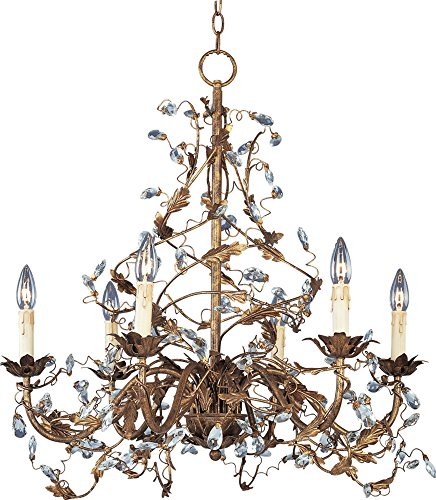 Maxim 2851EG Elegante 6-Light Chandelier, Etruscan Gold Finish, Glass, CA Incandescent Incandescent Bulb , 60W Max., Wet Safety Rating, Standard Dimmable, Glass Shade Material, 672 Rated Lumens - Etruscan Gold Finish Chandeliers