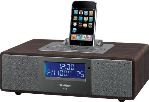 Sangean WR-5 FM- RBDS/AM/Aux-in Tabletop Wooden Cabinet Receiver Compatible with 30 Pin iPod or iPhone WITH FREE BLUETOOTH MUSIC RECEIVER by Sangean