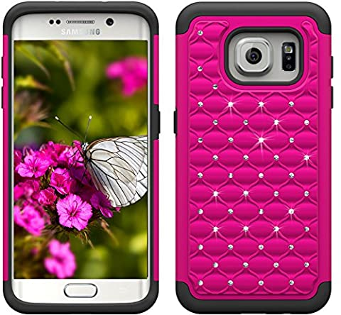 S7edge Case, Samsung S7 Edge Case [Fit Galaxy S7edge, Not for S7], Boonix Hard PC + Soft Silicone Combo ShockProof Mobile Cover, 2 in 1 Hybrid Protective Bumper [Crystal Rose - Studded Revolution