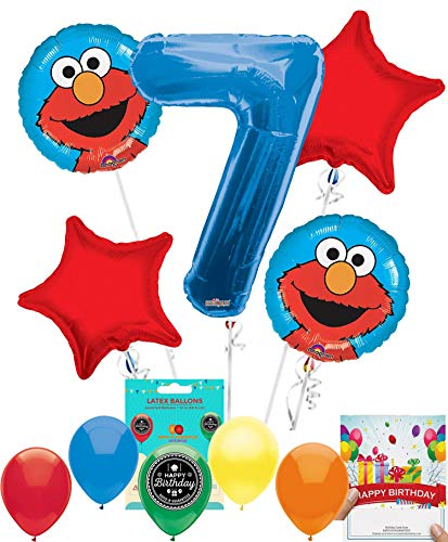 Elmo Party Supplies Sesame Street Balloon Decoration Bundle with Birthday Card for 7th Birthday -