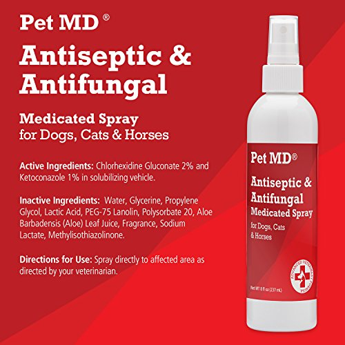 Product image of Pet MD Antiseptic and Antifungal Medicated Spray for Dogs, Cats and Horses with Chlorhexidine, Ketoconazole, Essential Fatty Acids, Aloe and Vitamin E - 8 oz