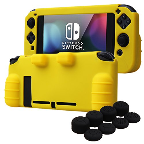 YoRHa HAND GRIP Silicone Cover Skin Case for Switch x 1(yellow) With Joy-Con thumb grips x 8