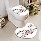 PRUNUS Non-slip Bath Toilet Mat Roses and Skull Feast of All Saints Catholic Tradition Art Print Soft Non-Slip Water