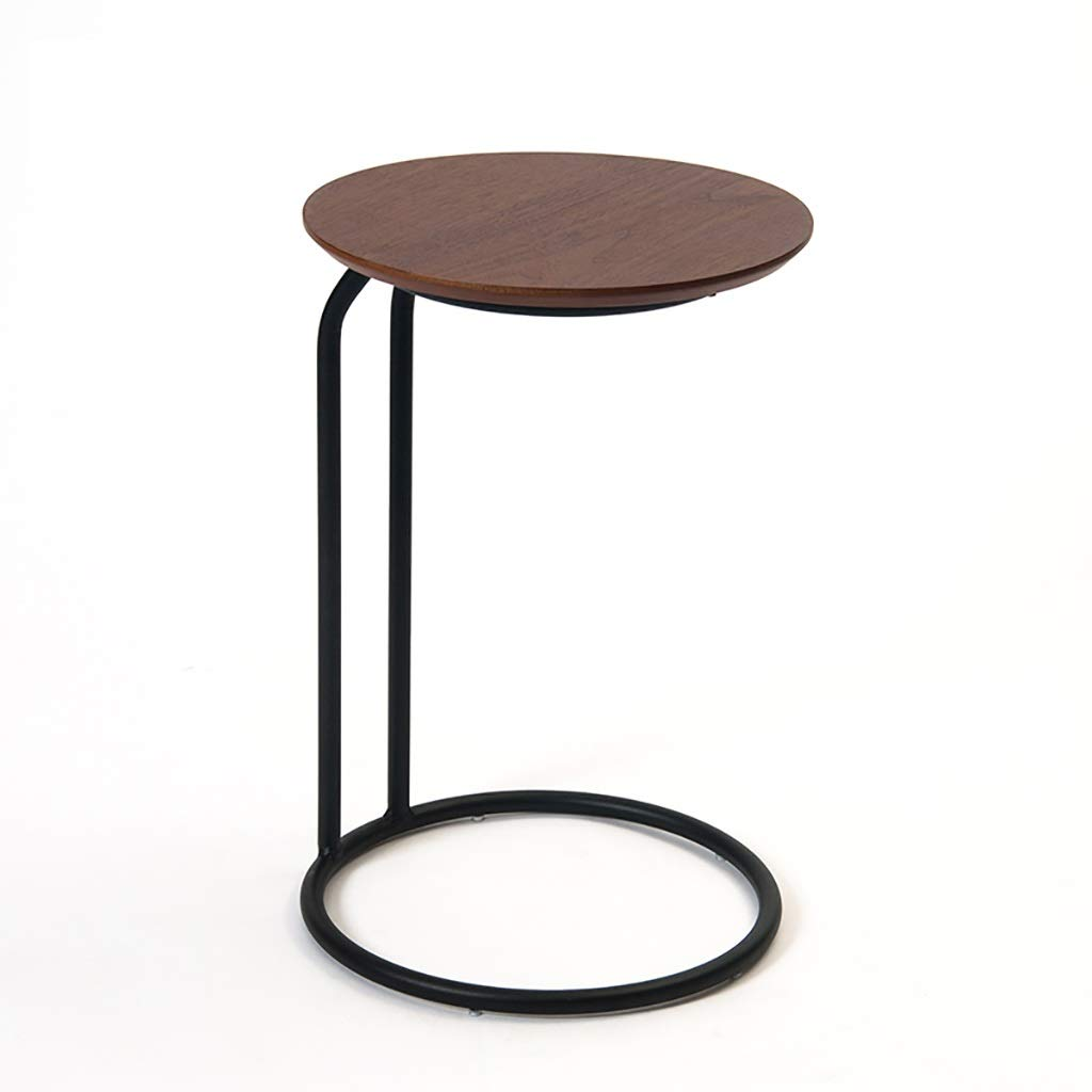 Round Side End Table,C Shaped Space Saving Telephone Table for Living Room, Snack Table with Wood Finish and Steel Construction,Dark Brown by LYR