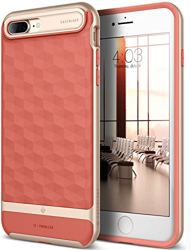 Caseology Parallax Series iPhone 7 Plus / 8 Plus Cover Case with Design Slim Protective for Apple iPhone 7 Plus (2016) / iPhone 8 Plus (2017) - Coral Pink