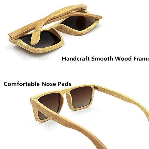 cadre adulte plein carrée main Marron protection pour unisexe à Couleur Lunettes lentille la KOMEISHO Bleu bois en de UV400 forme soleil PwWzYXTqA4