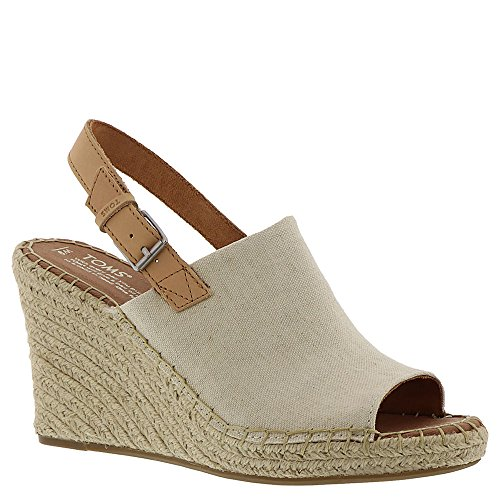 TOMS Women's Monica Oxford Leather Wedge Natural 6