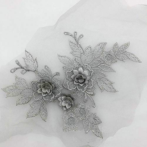 - 2 Pcs Colored 3D Flower Lace Applique Embroidered Material Trim for DIY Wedding Dress Veil Accessories (Gray)
