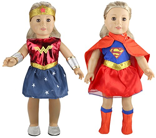 Tatuer Doll Clothes Super Hero Costume+Wonder Woman Outfit for 18 Inch American Girl Dolls (Dolls Not Included) -