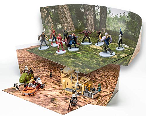 Pine Forest and Desert Backdrop Compatible with LEGO Action Figures Play; Double-sided Dioramas: Twice The Value; Great For Engaging Imagination, Make Stop-motion Movies; Landscape SINGLE Pack