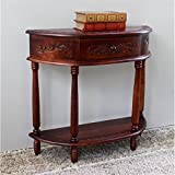 Hand Carved Wood 2-Tier Half Moon Table