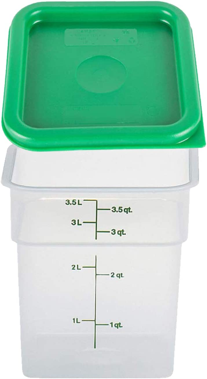 Cambro 4SFSPP190 4 Qt. Translucent Container with SFC2452 Kelly Green Lid, 4Quart