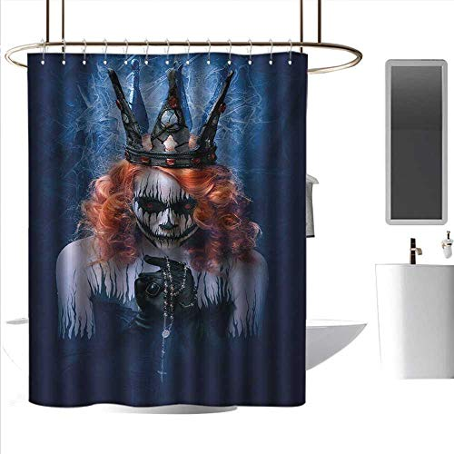 J Chief Sky Fabric Shower Curtain Queen,Queen of Death Scary Body Art Halloween Evil Face Bizarre Make Up Zombie,Navy Blue Orange Black Hanging Curtain Home Decoration W36 x L72 -