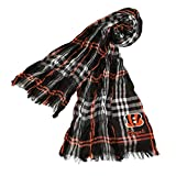 DH 70 X 25 Inches NFL Bengals Crinkle Plaid Scarf, Football Themed Women Accessory Stylish Fringed Edges, Team Logo Fan Merchandise Athletic Team Spirit Fan, Orange Black White, Polyester