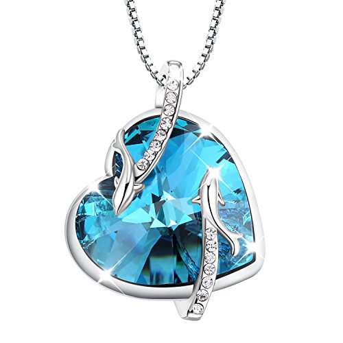 Turantu Gift for Women♥Heart of the Ocean Dolphin Pendant Necklace Made with SWAROVSKI Crystal